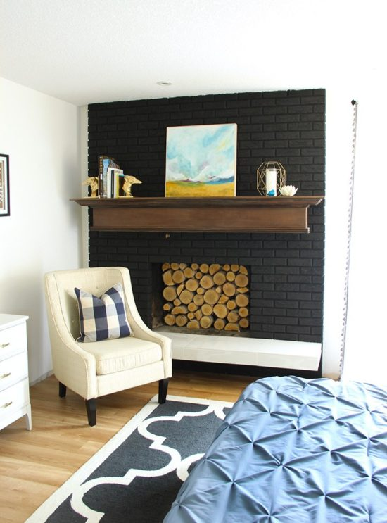 fireplace mantels ideas painted black fireplace - Black Fireplace Mantels