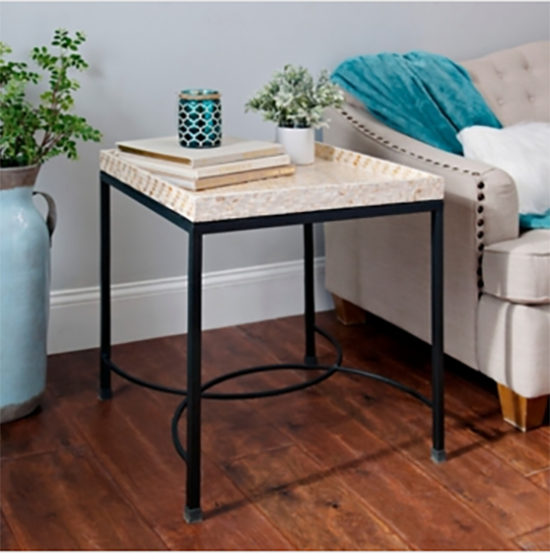 traditional style end table with tray