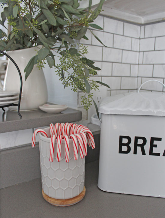 Christmas kitchen decorating with candy canes