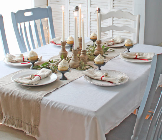 Christmas table decor and centerpiece