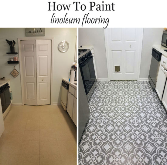 How to paint linoluem flooring to look like cement tiles, floor paint