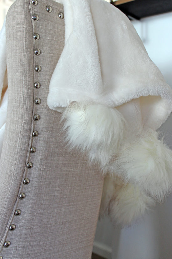 faux fur pom pom throw blanket white