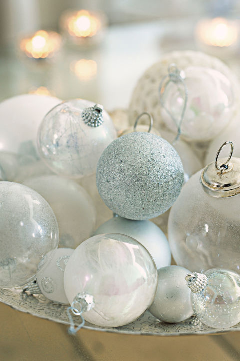 bowl full of ornaments for Christmas