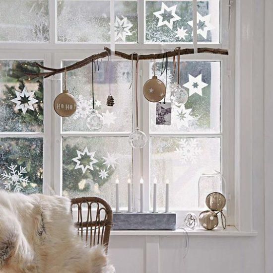 ornament branch in window