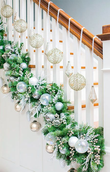 Christmas ornaments on stairs
