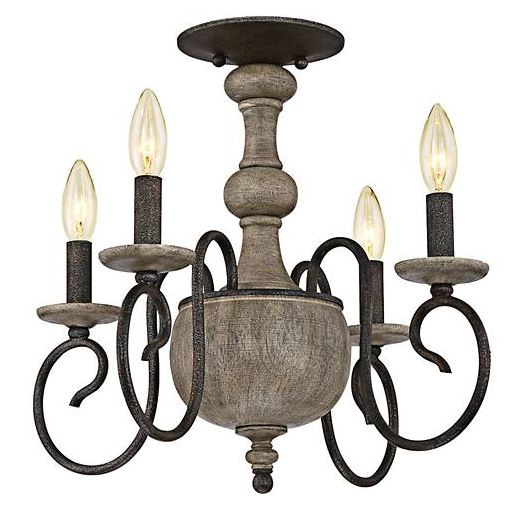 rustic flush mount chandelier with candles