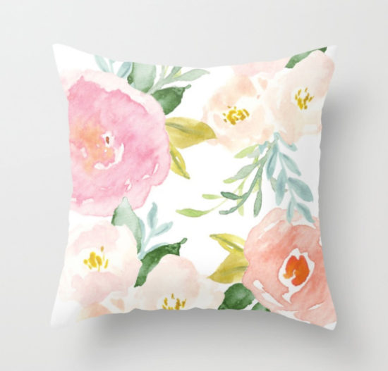 floral watercolor pillow - home decor gift ideas - gift guide