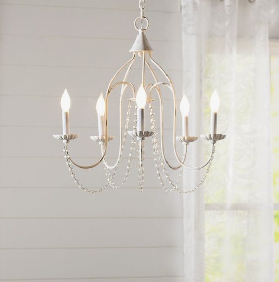 white beaded crystal chandelier from Wayfair