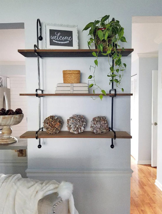 wooden storage shelves for the living room, shelf styling