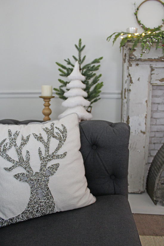 Deer Christmas throw pillow