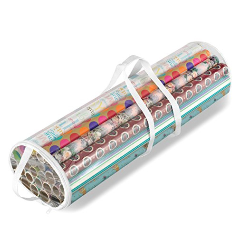 clear container gift wrap organizer for wrapping paper