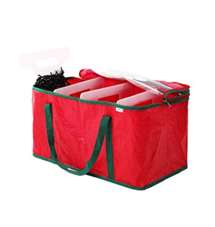 organized Christmas lights storage container