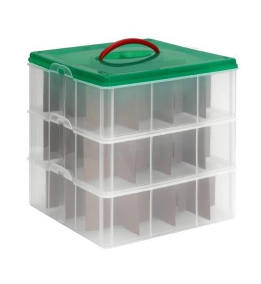 plastic ornament storage container