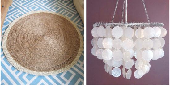 sisal rug and shell chandelier