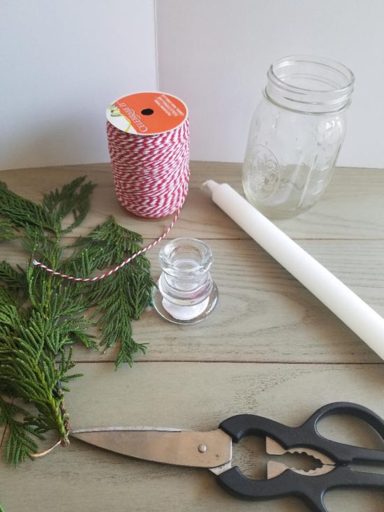 what you need to make a Christmas greenery display with garland