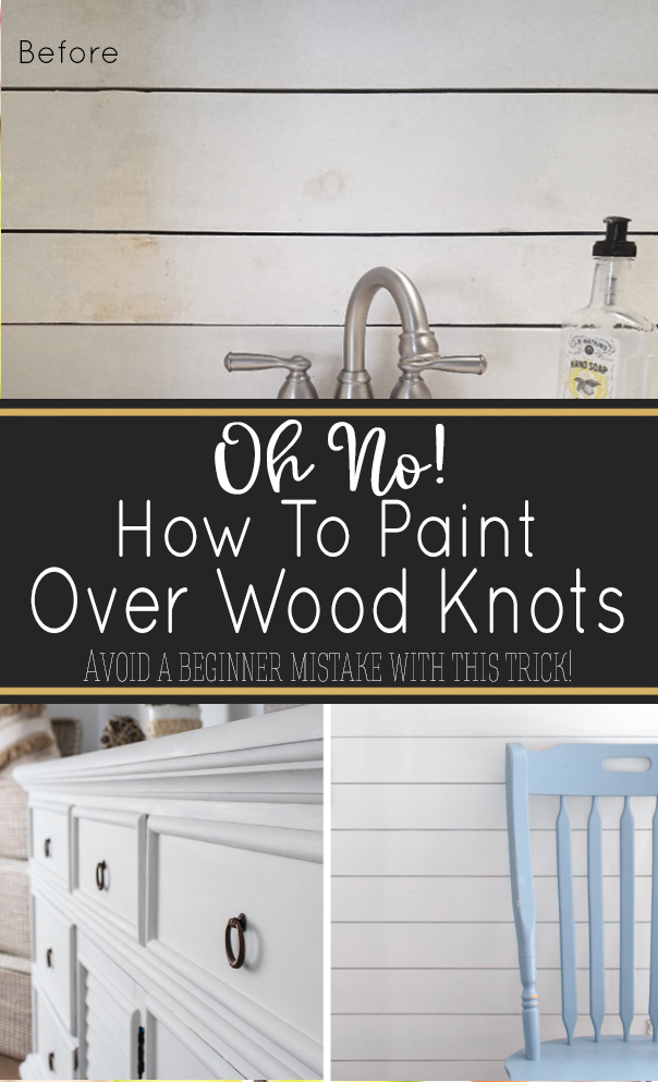 Painting knotty wood without the right products can cause the knots to leak through the paint over time. Learn how to prevent wood knots from showing through with one simple trick! #painting #furnituremakeovers #shiplap