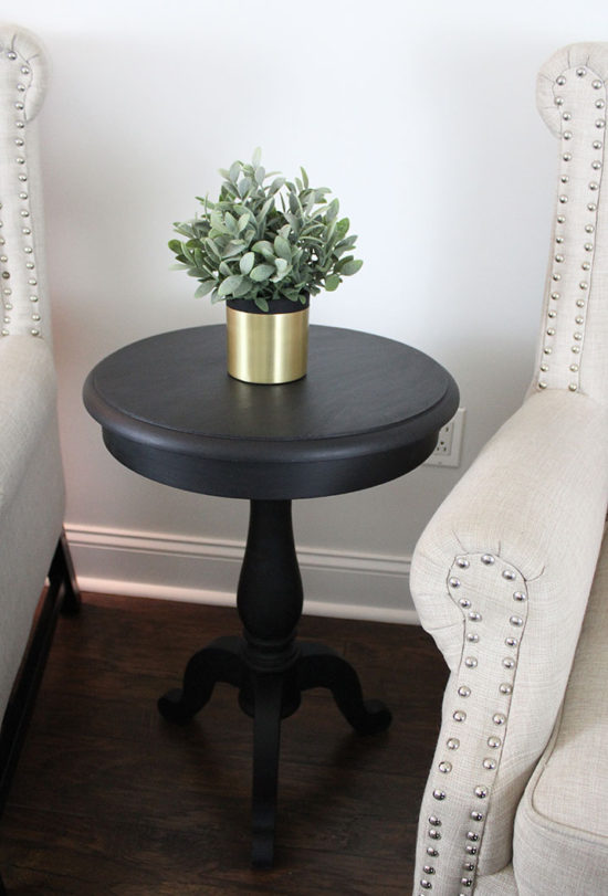 black end tables neutral living room