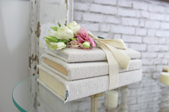 fabric covered books and flowers