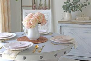 Spring tablescape pink hydrangea FI