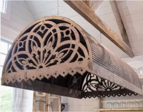Wood and tin awning pendant rustic farmhouse kitchen