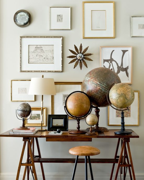 antique globe collection, mixing old and new