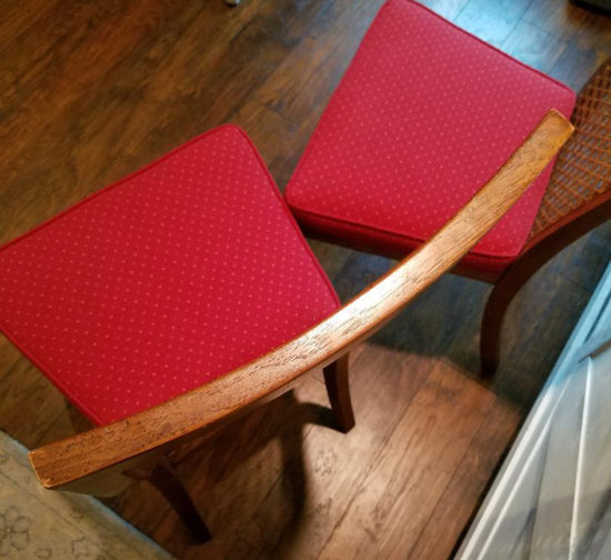rounded back caned chairs