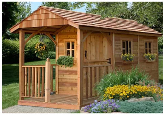 Wooden shed with porch