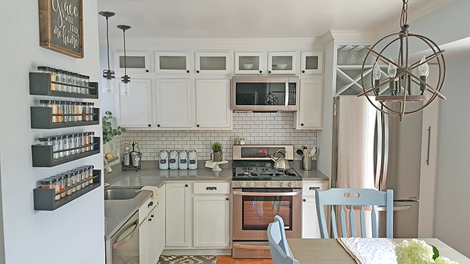 Tall Kitchen Cabinets - How to Add Height - on kitchen shelves instead of cabinets, above kitchen cupboard decorating with antiques ideas, small kitchen ideas with oak cabinets, above kitchen window trim, above kitchen sinks,