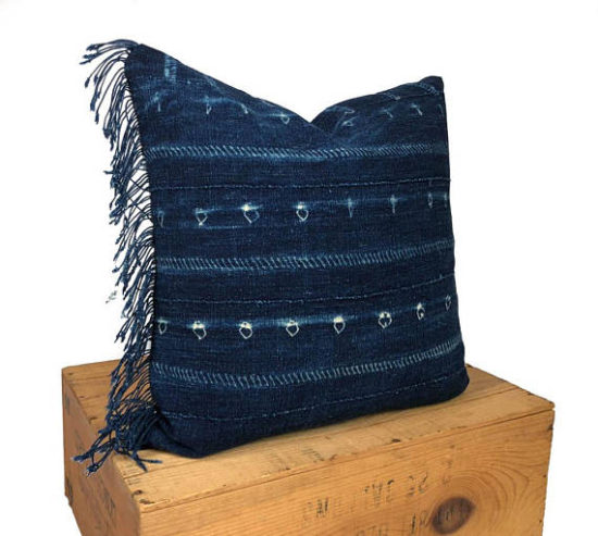 blue fringe mudcloth pillow