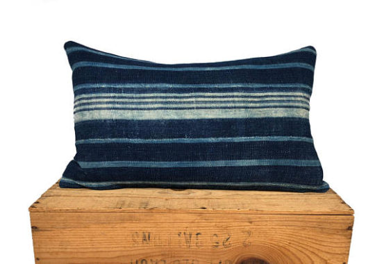 blue stripe mud cloth pillow cover