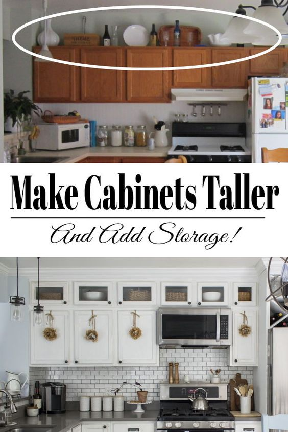 A step by step guide on how to add height to your kitchen cabinets. Tall kitchen cabinets will make your kitchen look and feel bigger as well as give it a more customized look.