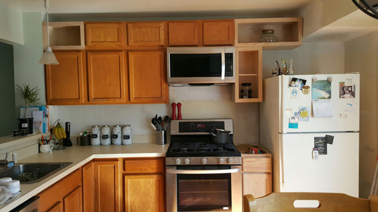 kitchen before adding height to the cabinets