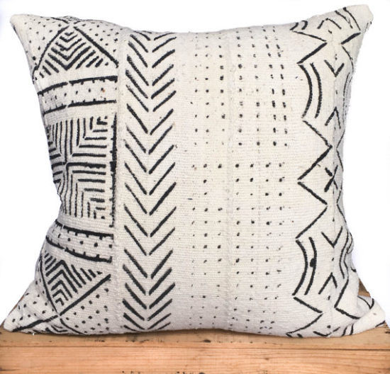mudcloth pillow black and white