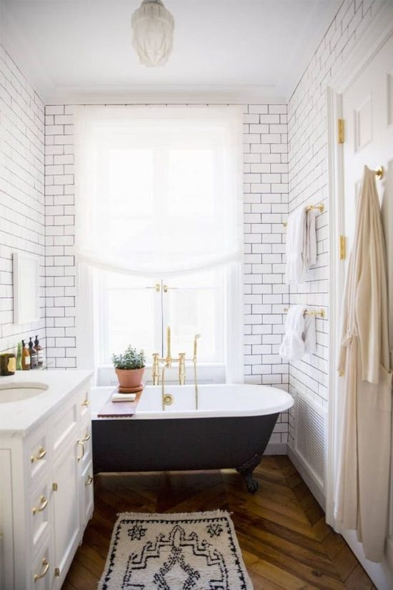 small bathroom herringbone floors