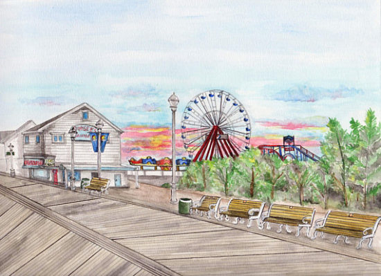 Ocean City Boardwalk Watercolor Painting, watercolour paintings