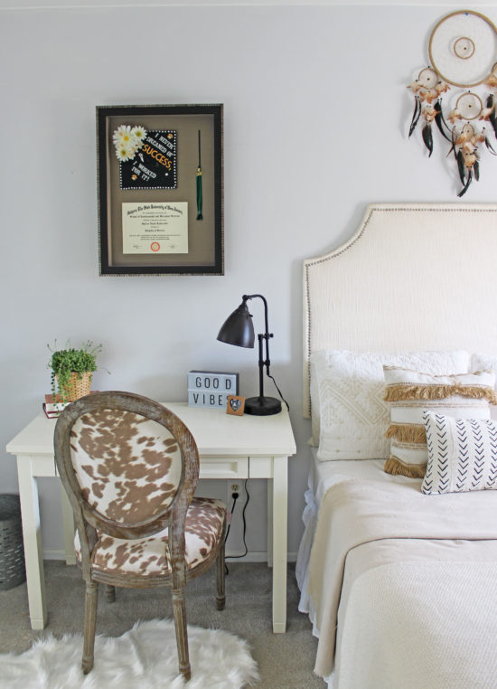 SFW-Neutral-Bedroom,-Custom-Framing,-Cow-print-chair