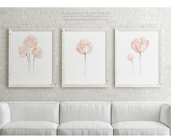 Set of Four Blush Peony Watercolor Paintings, watercolor painting flowers