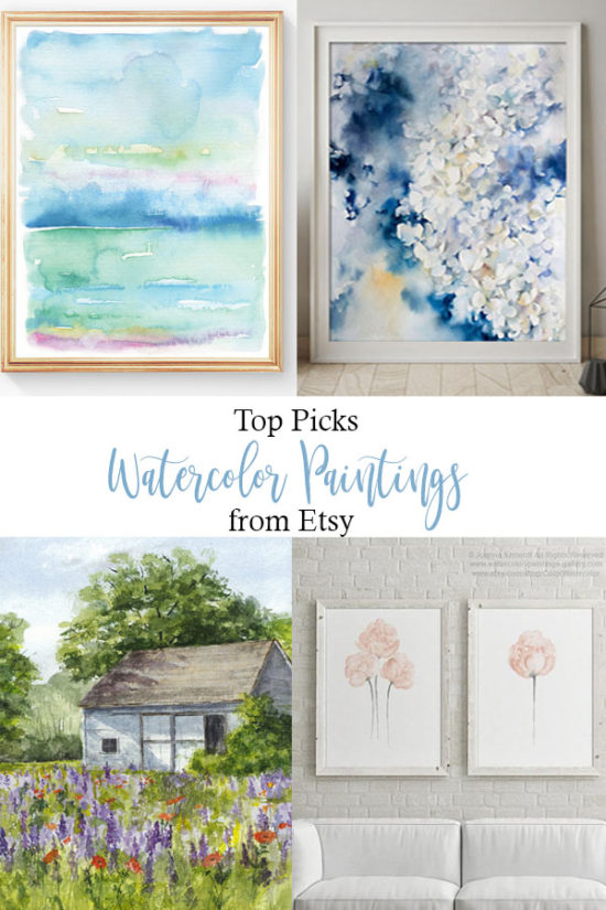 The Best Watercolor Paintings from Etsy, totally affordable beautiful wall decor PIN