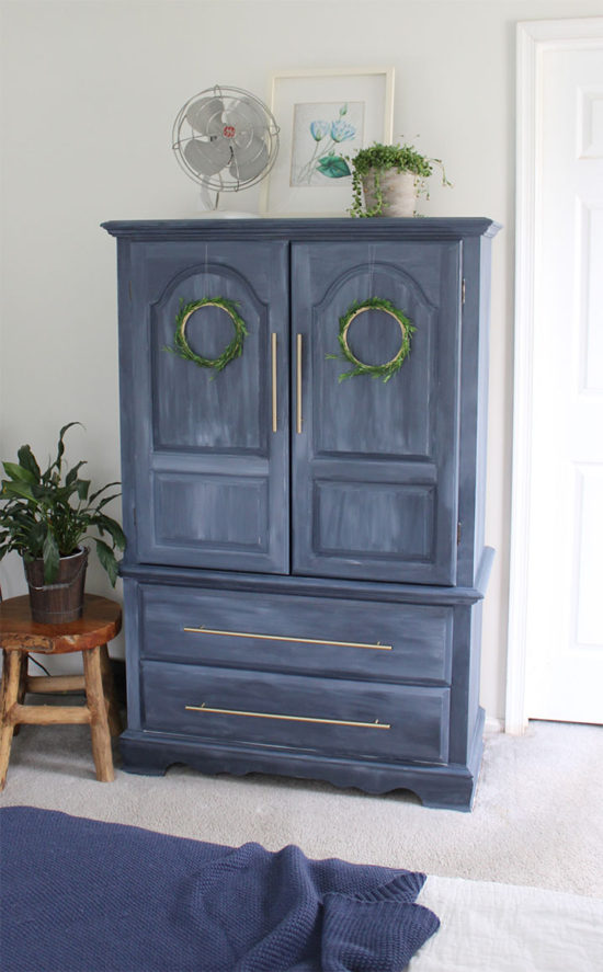 blue painted furniture with fusion mineral paint in blue before and after furniture makeovers, armoire