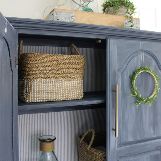 blue painted furniture makeover, lining an armoire with fabric, ticking stripe, fusion mineral paint blue
