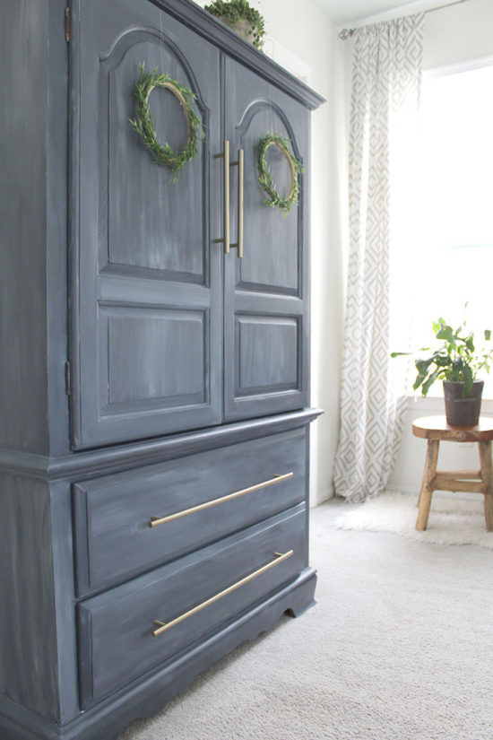 blue painted furniture makeover fusion mineral paint