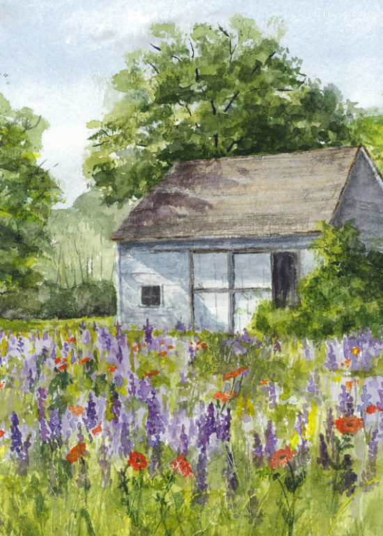 cottage watercolor painting, watercolor art, watercolor paintings, watercolor landscape
