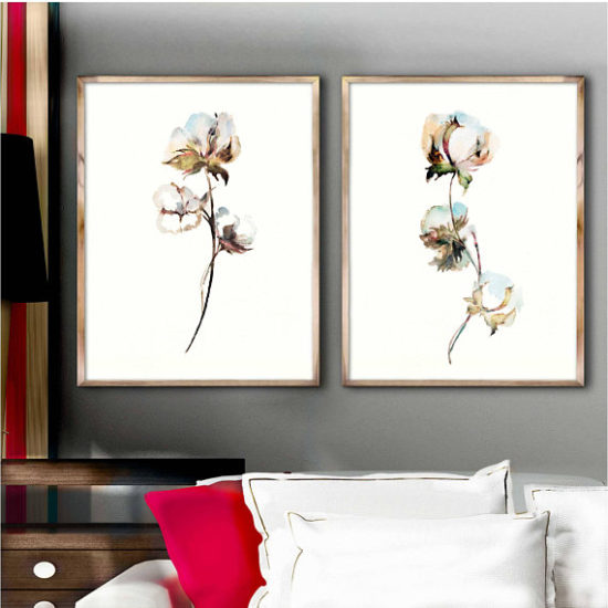 cotton art watercolor painting