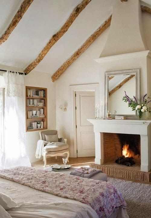 amazing cottage bedroom with fireplace