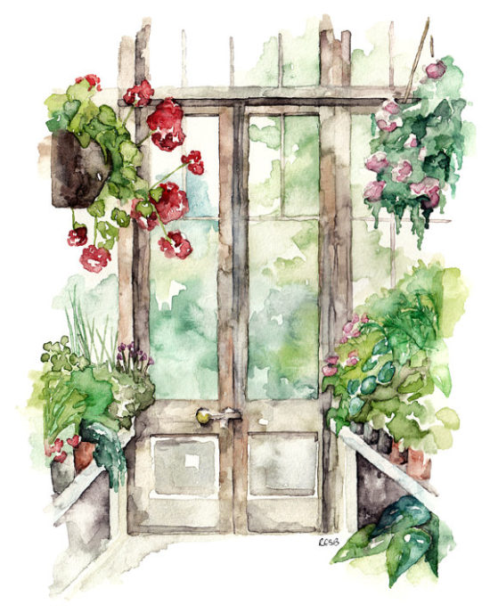 greenhouse watercolor