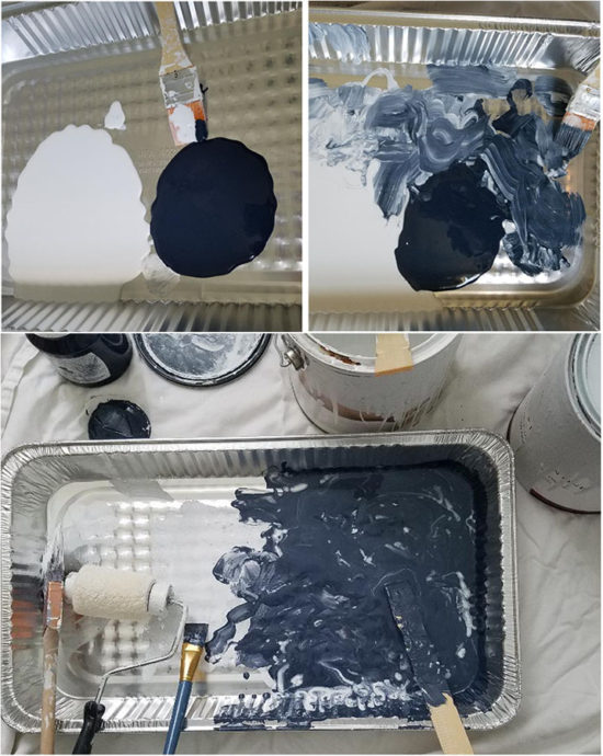 mixing paint colors for a stippled effect, painted furniture