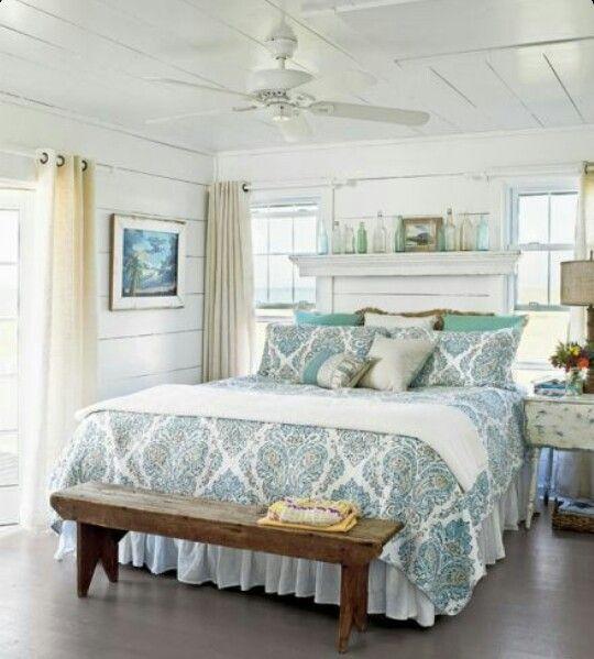 white shiplap cottage bedroom