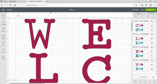 Cricut lettering for welcome sign 1