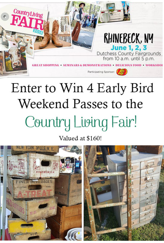 Enter to win four early bird weekend pass tickets to the Country Living Fair in Rhinebeck NY, valued at $160!