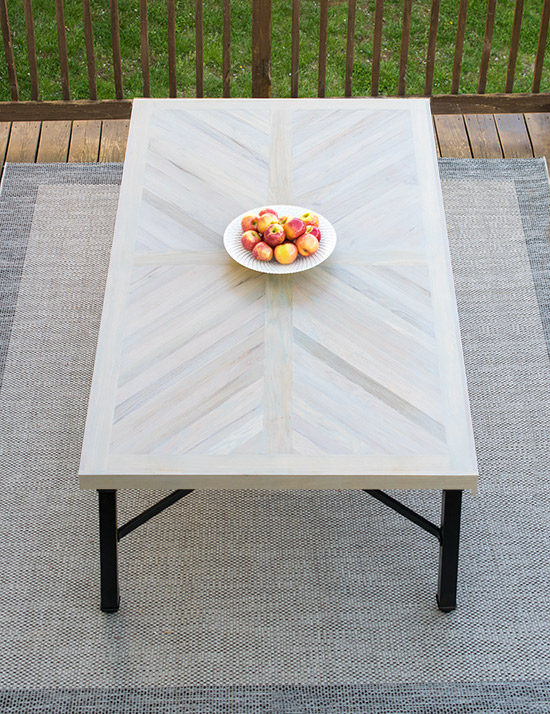 diy outdoor table herrringbone pattern craving some creativity